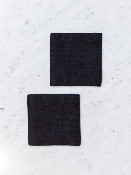 Linen Coaster Set - Black