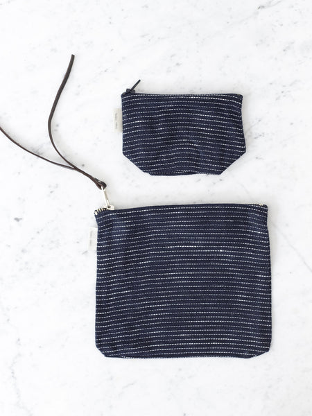 Navy Pin Stripe Pouches
