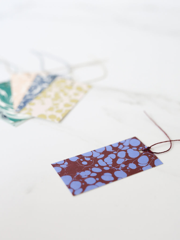 'Turkish Spot' Marbled Gift Tags - Maroon/Bright Blue