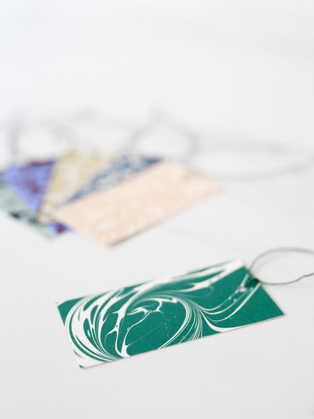 'Fantasy' Marbled Gift Tags - Emerald Green