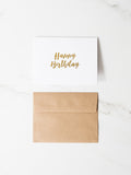 Penned Black 'Happy Birthday' Card