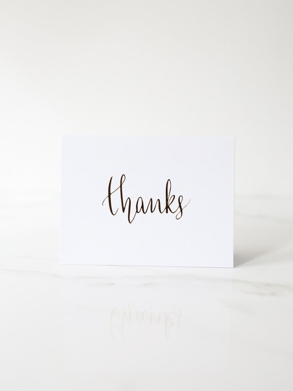 Penned Black 'Thanks' Card