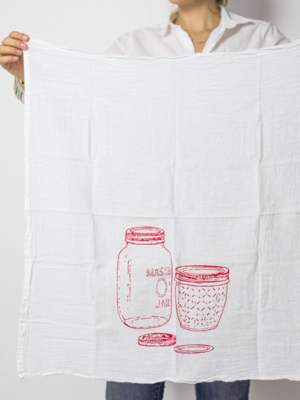 mason jar print tea towel