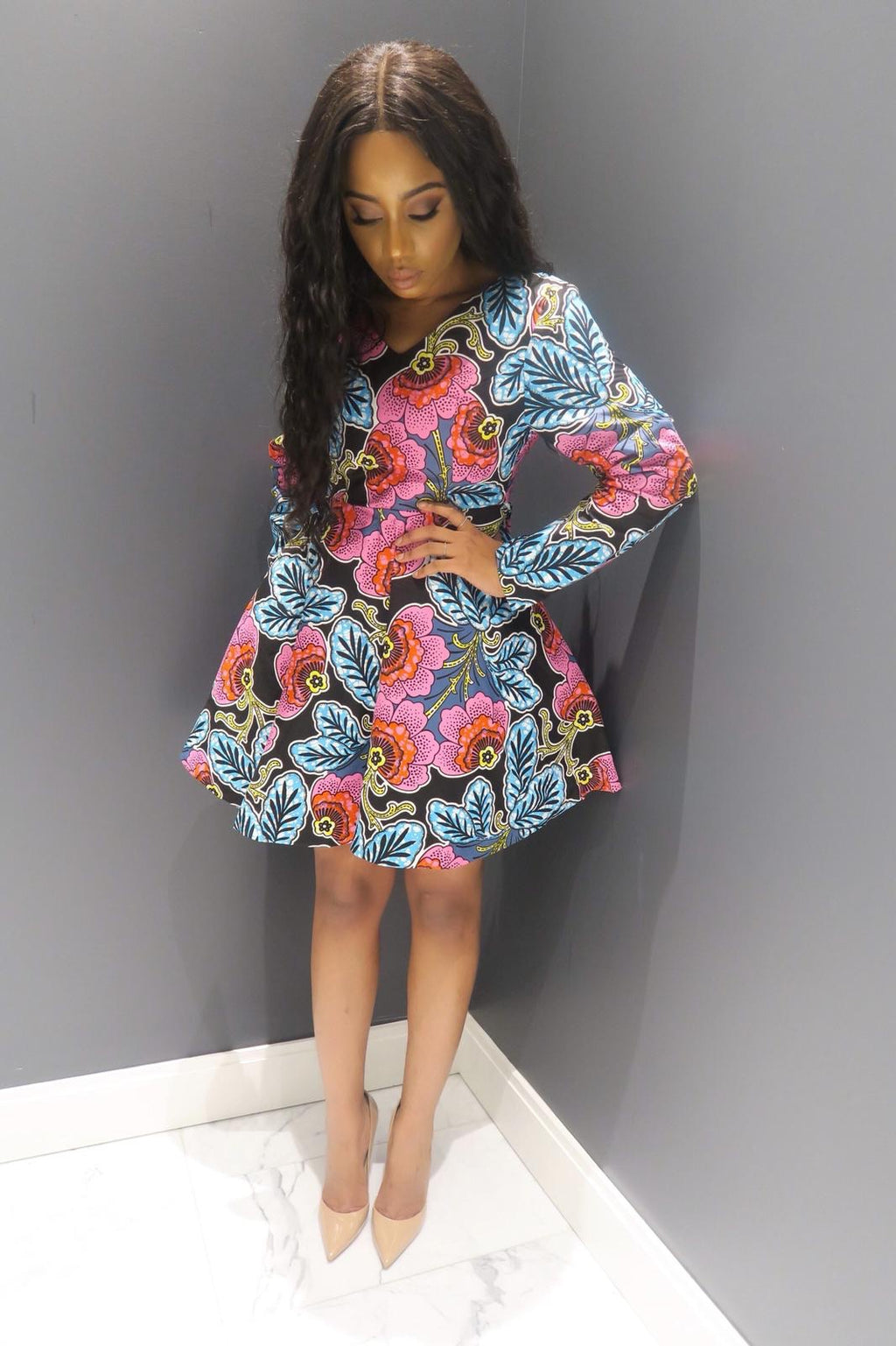 Okoye Floral Print Ankara Dress