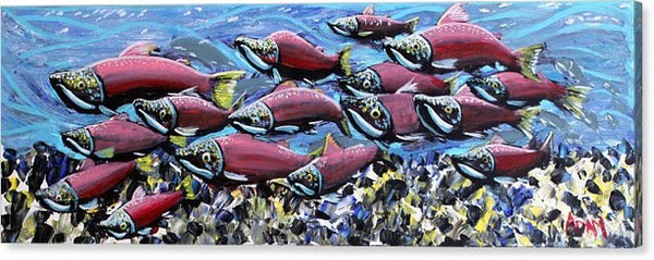 Salmon Stream - Canvas Print - Blue Creations Store