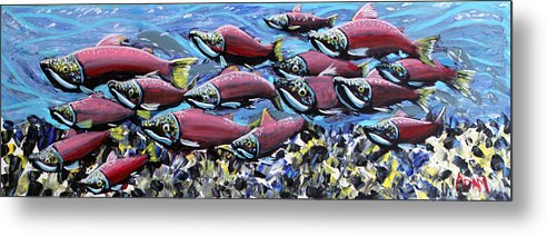 Salmon Stream - Metal Print - Blue Creations Store