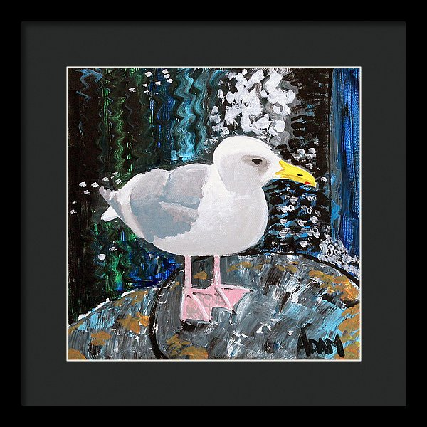 Seagull Perch - Framed Print - Blue Creations Store