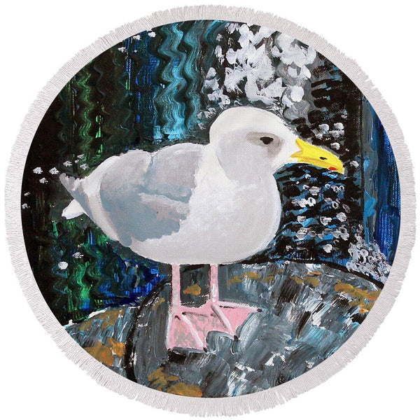 Seagull Perch - Round Beach Towel - Blue Creations Store