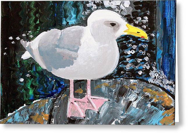 Seagull Perch - Greeting Card