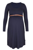 CM381A BELTED SCOOPNECK DRESS NAVY