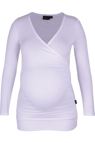 CM080A GAUGED WRAP TOP LONG SLEEVE WHITE