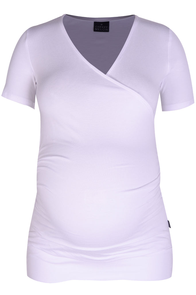 CM080C GAUGED WRAP TOP S/SLV WHITE