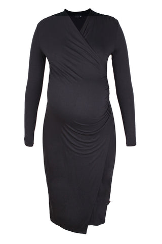 CM093A COCKTAIL WRAP DRESS LONG SLEEVE BLACK