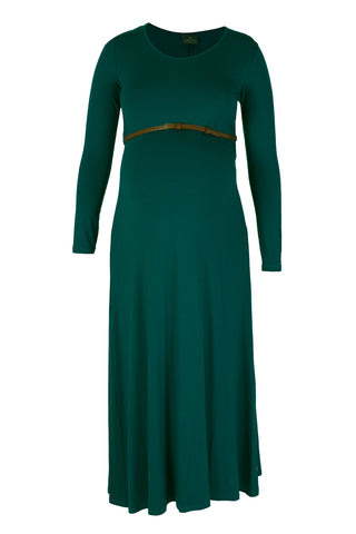 CM129A MAXI DRESS WITH BELT LONG SLEEVE PEACOCK