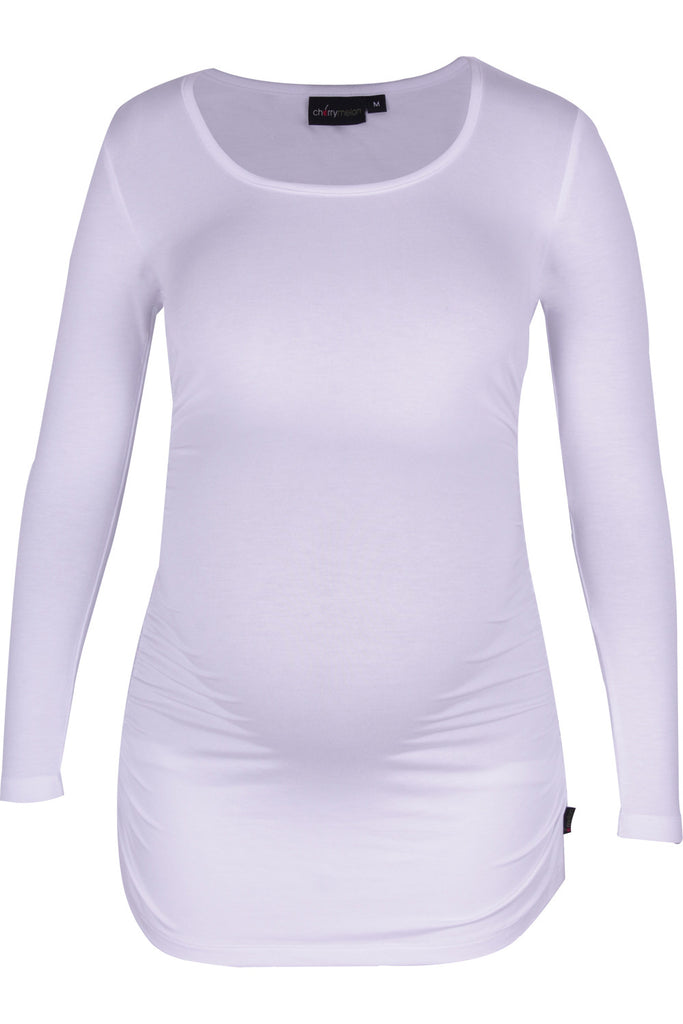 CM170A ROUND NECK TOP WITH SIDE DETAIL LONG SLEEVE WHITE