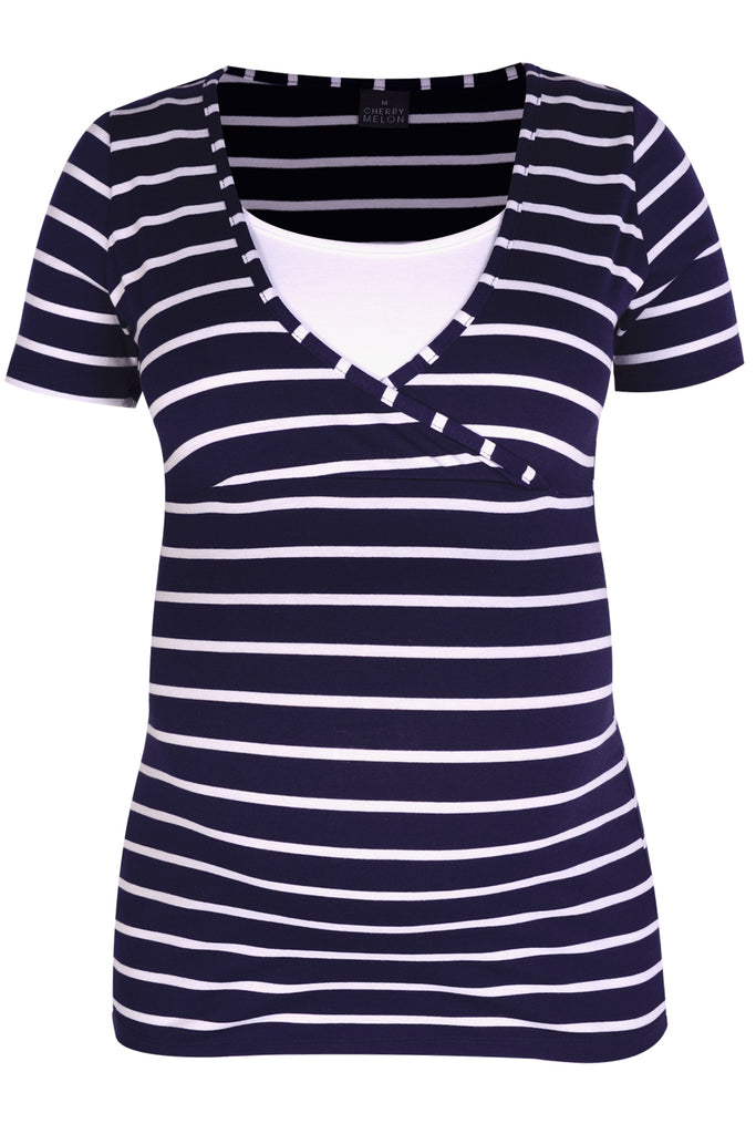 CM277C-STR NAVY/WHT CROSSOVER FEEDING TOP