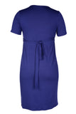 CM370C FASHION MOCK WRAP DRESS SHORT SLEEVE FRENCH NAVY
