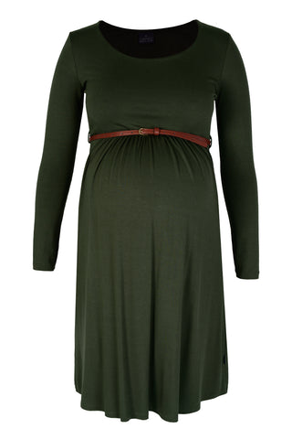 CM381A BELTED SCOOPNECK DRESS LONG SLEEVE MILITARY