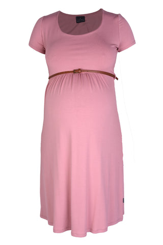 CM381D DEEP BLUSH BELTED SCOOPNECK DRESS CAP/SLV