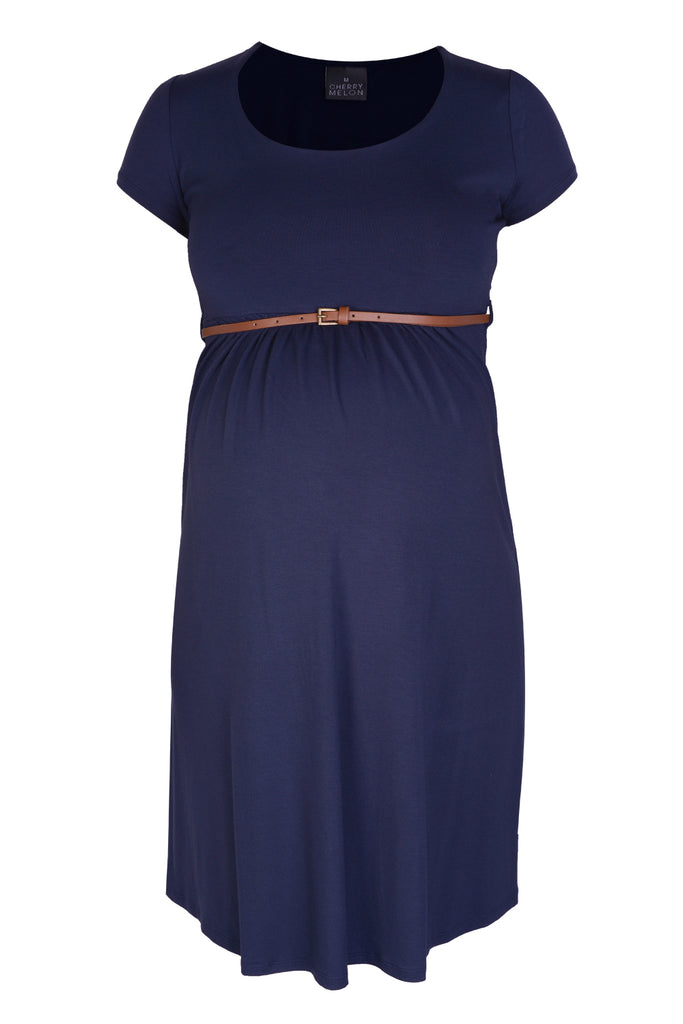 CM381D BELTED SCOOPNECK DRESS-CAP SLV NAVY