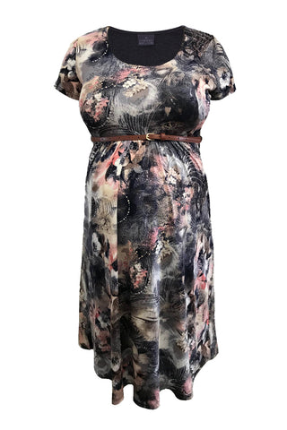 CM381D-PRN BELTED SCOOPNECK DRESS CAP SLEEVE MESH FLORAL