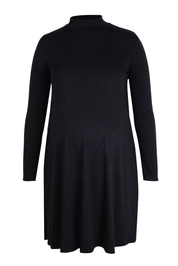 CM383A FUNNELNECK SWING DRESS LONG SLEEVE CHARCOAL