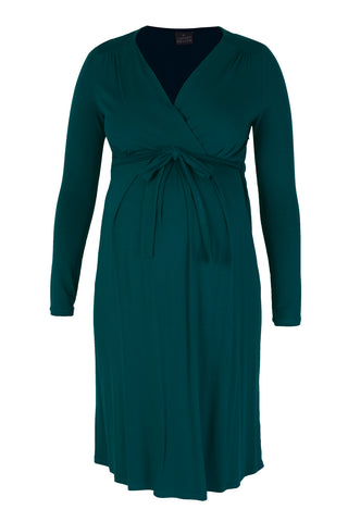 CM418A MOCK WRAP DRESS LONG SLEEVE DEEP TEAL