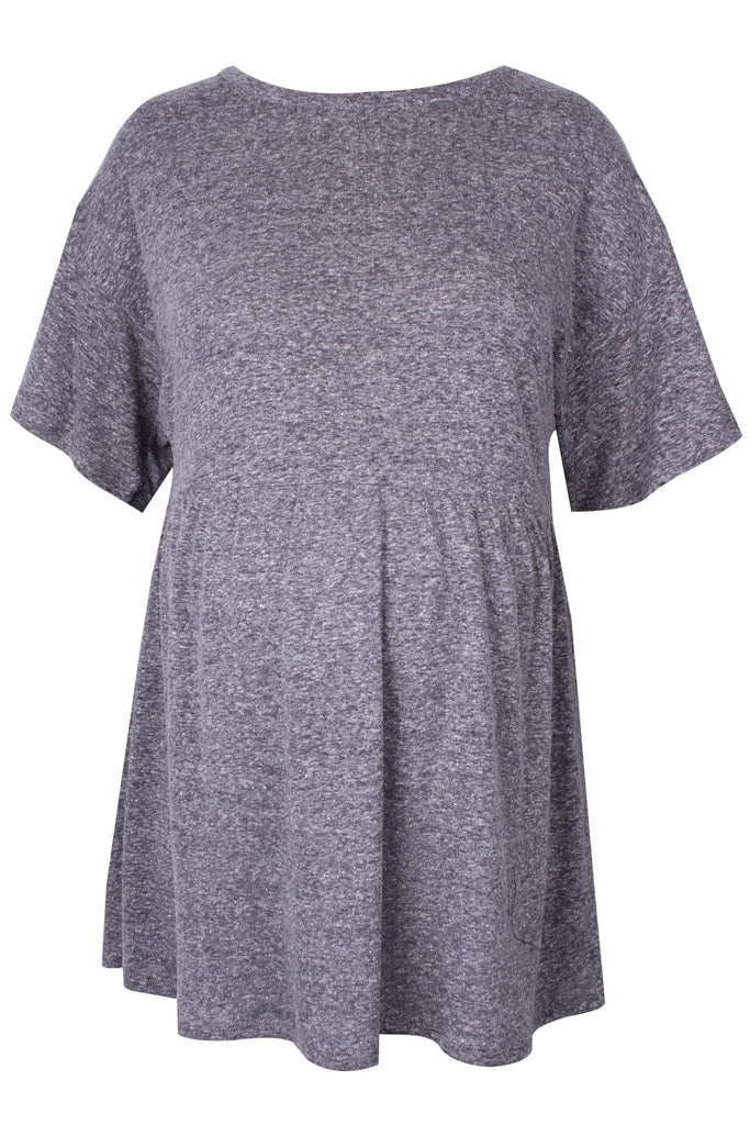 CM423C GREY MEL CONTEMPORARY SKATER TOP S/SLV