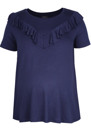 CM462C FRONT FRILL TOP S/SLV NAVY