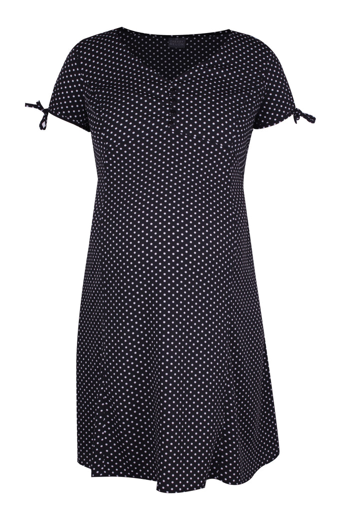 CM479D-PRN POLKA SKATER TEA DRESS BLACK/WHITE