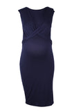 CM483E S/LESS MIDI DRESS WITH FRONT TWIST NAVY SLUB