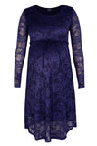 CM487A LACE SCOOPNECK DRESS LONG SLEEVE DENIM BLUE