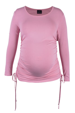 CM513A ROUND NECK TOP WITH SIDE DETAIL LONG SLEEVE ROUCHED w TIES DUSTY PINK