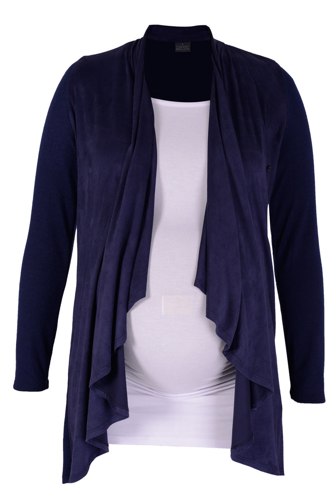 CM526A WATERFALL CARDI SUEDED FRONT NAVY
