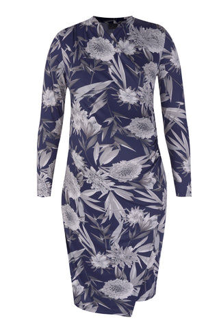 CM093A-PRN COCKTAIL WRAP DRESS LONG SLEEVE SPIKEY FLORAL