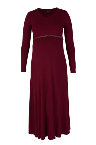 CM129A BURGUNDY MAXI DRESS WITH BELT