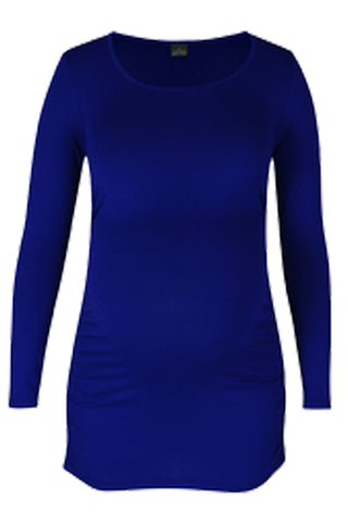 CM170A ROUND NECK TOP WITH SIDE DETAIL LONG SLEEVE COBALT