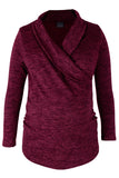 CM386A CUT & SEW WRAP TOP LONG SLEEVE BURGUNDY