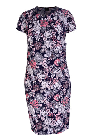 CM480D-PRN COCKTAIL WRAP DRESS WITH METAL TRIM TAPESTRY PRINT