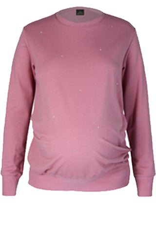 CM515A SWEAT TOP WITH EMBELLISHMENT DEEP BLUSH