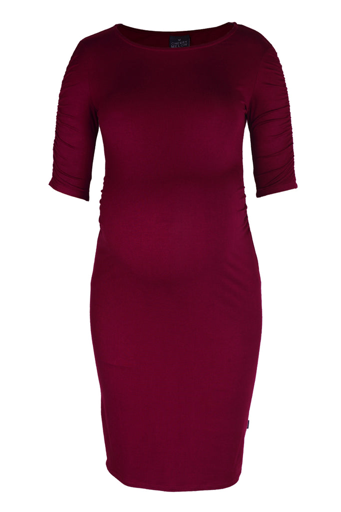 CM523BB JERSEY DRESS WITH ROUCHED SLEEVE BURGUNDY