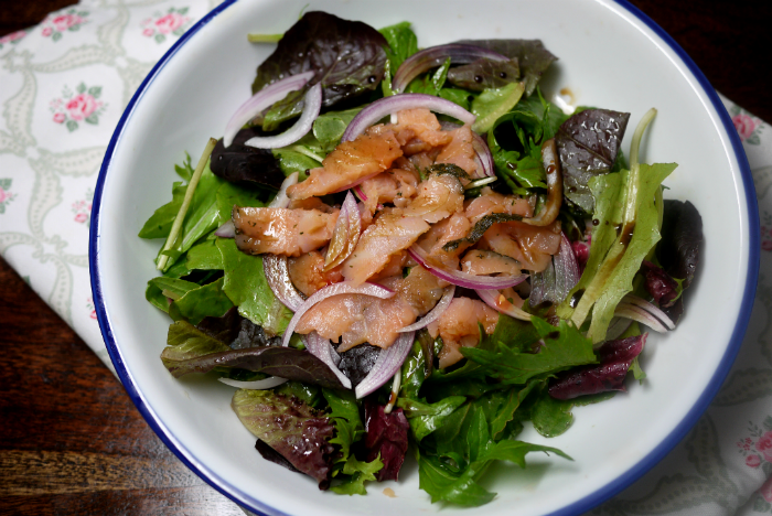 Smoked Salmon Salad with Sweet Tangerine Dressing
