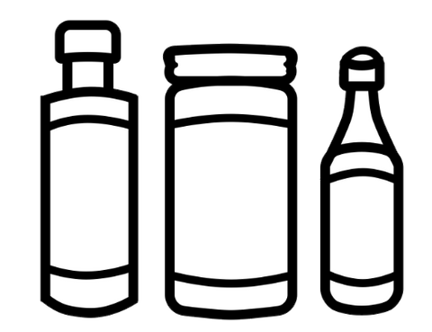 three different shapes of condiment bottles