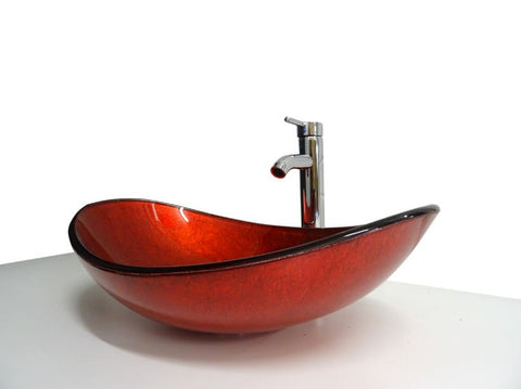 SNUGGX Metallic Red Tempered Glass Countertop Vessel Basin - SNUGGX - 8