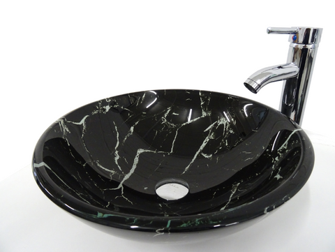 SNUGGX Marble Black Tempered Glass Countertop Basin - SNUGGX - 1