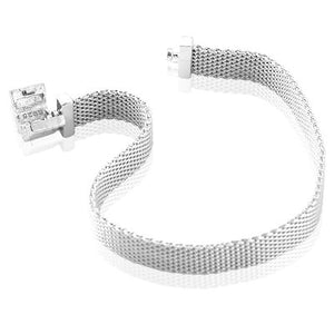Mesh Style Sterling Silver Charm Bracelet