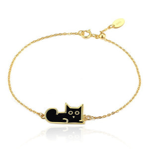 Black Enamel Cat Sterling Silver Bracelet with Gold Plating
