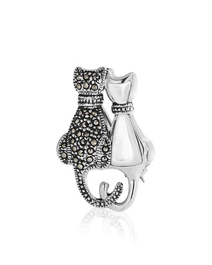 Cats Love Pin with Marcasite in Sterling Silver
