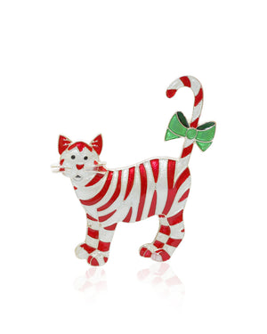 Candy Cane Cat Pin with Enamels over Silver