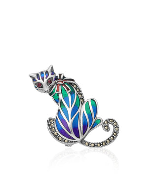 Looking Back Cat Pin with Rubies, Marcasite & Enamels in Sterling Silver
